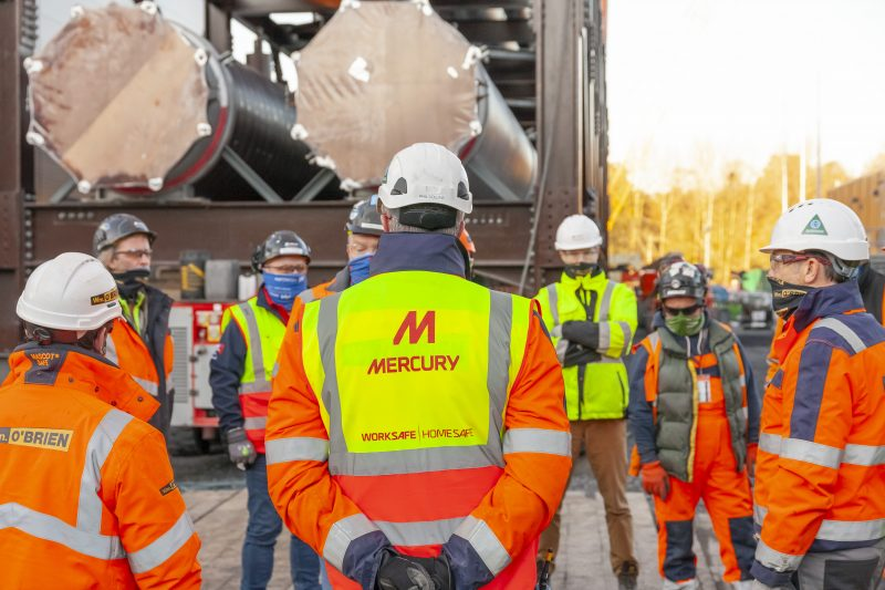 Mercury Engineering company having a meeting on jobsite